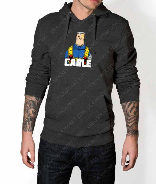 Mens DP2 Cable Grey Hoodie