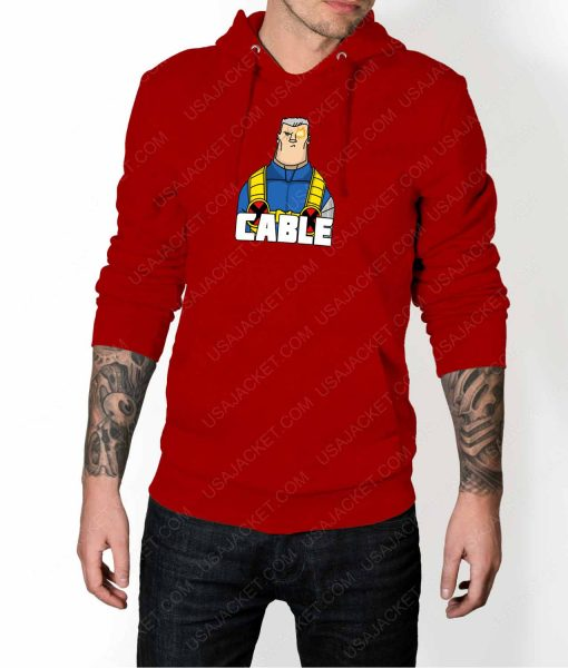 Mens DP2 Cable Red Hoodie