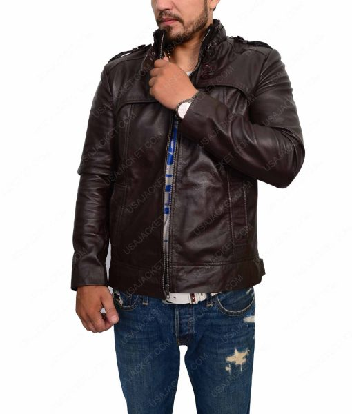 Mens Dark Brown Slimfit Cafe Racer Jacket