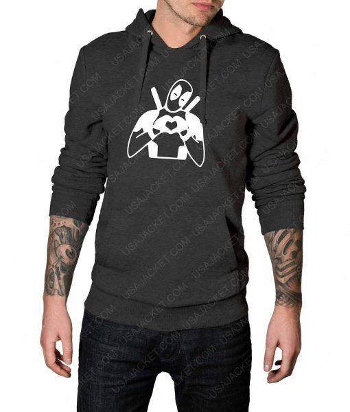 Mens Deadpool Heart Love Grey Hoodie