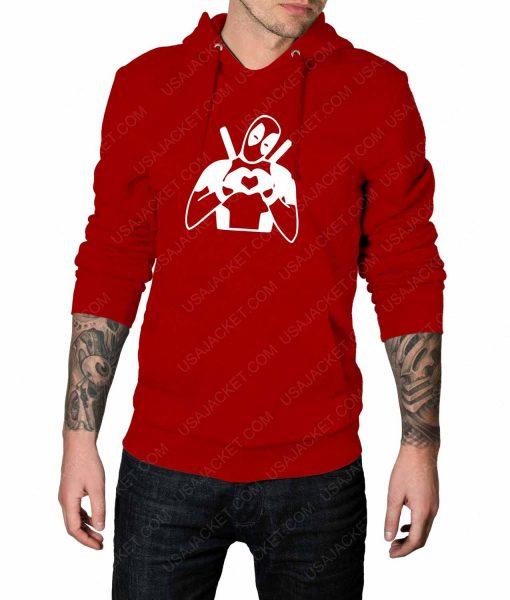 Mens Deadpool Heart Love Red Hoodie