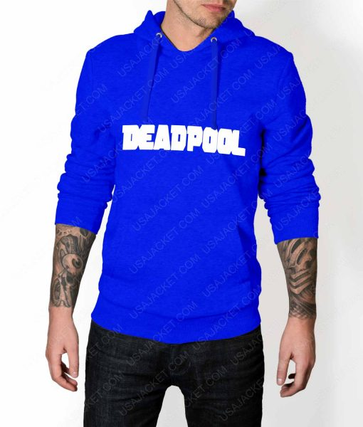 Mens Deadpool Title Logo Blue Hoodie