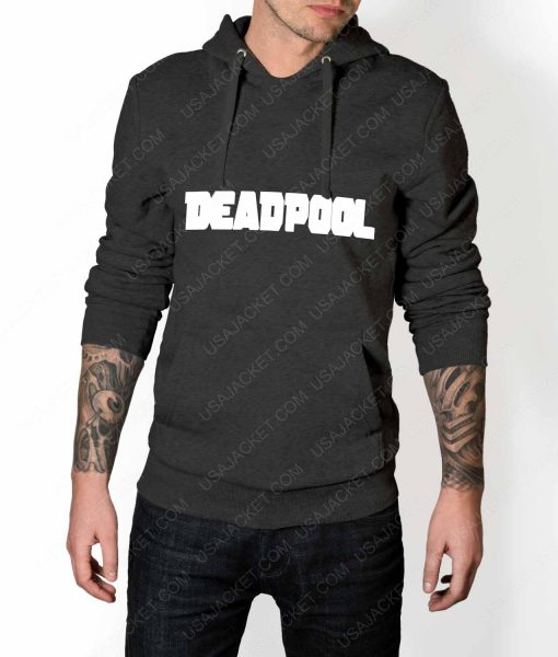 Mens Deadpool Title Logo Grey Hoodie