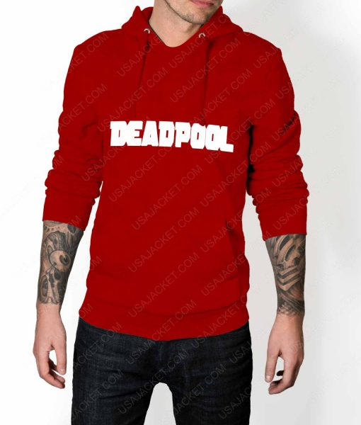 Mens Deadpool Title Logo Red Hoodie