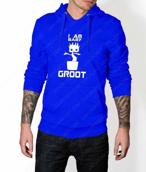 Mens Im Groot Logo Blue Hoodie