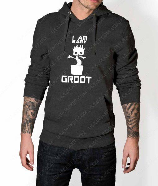 Mens Im Groot Logo Grey Hoodie