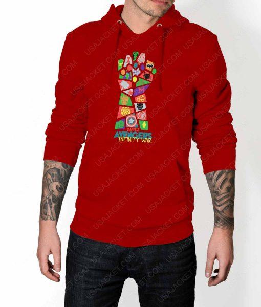Mens Infinity War Pop Art Red Hoodie