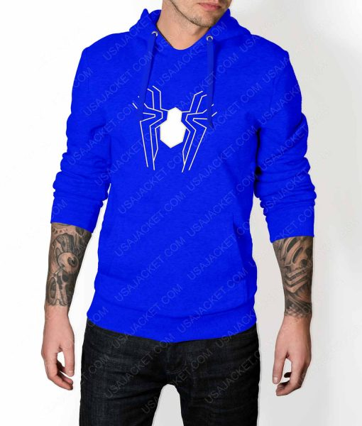 Mens Infinity War Spiderman Suit logo Blue Hoodie