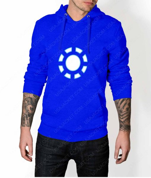 Mens Iron Man 1 ARC Reactor Blue Hoodie