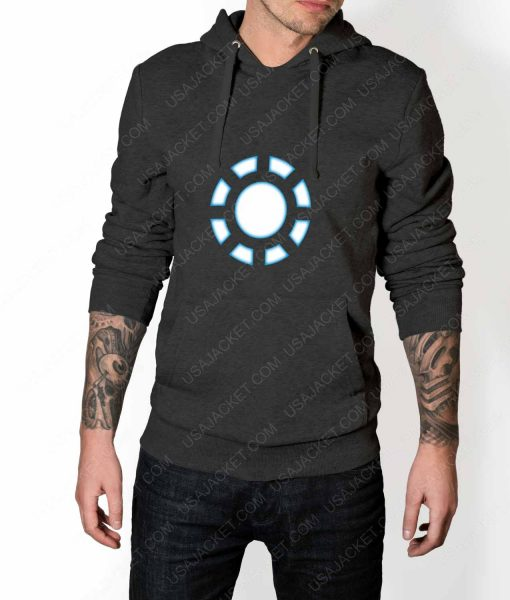Mens Iron Man 1 ARC Reactor Grey Hoodie