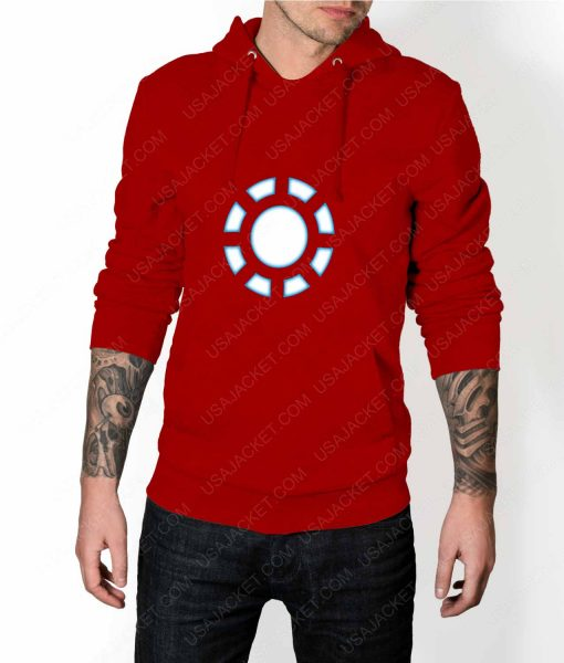 Mens Iron Man 1 ARC Reactor Red Hoodie