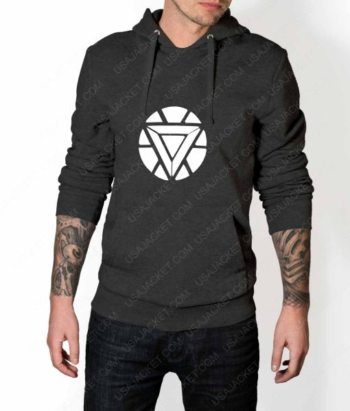Mens Iron Man ARC Reactor Logo Grey Hoodie