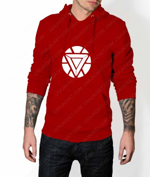 Mens Iron Man ARC Reactor Logo Red Hoodie