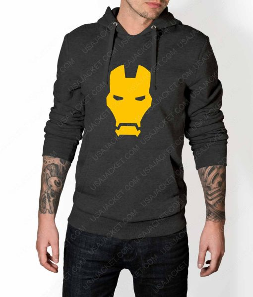Mens Iron man Face Logo Grey Hoodie