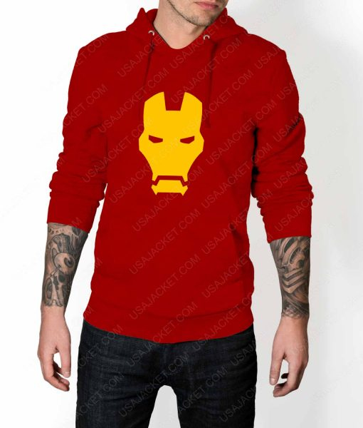 Mens Iron man Face Logo Red Hoodie