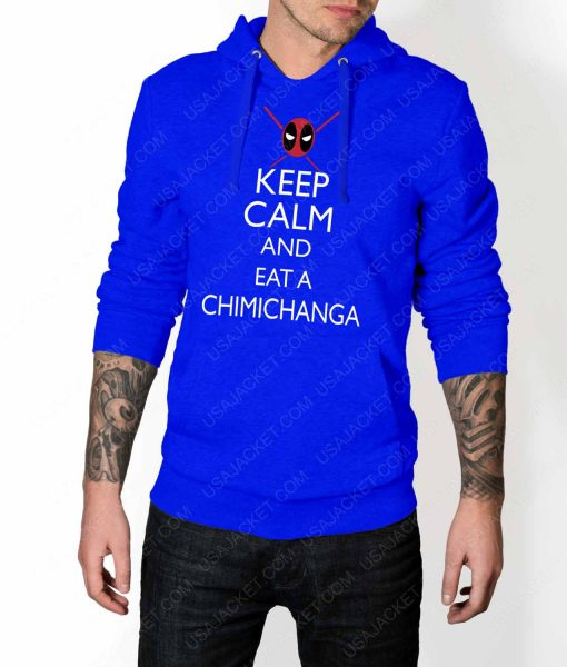 Mens Keep Calm And Eat Chimichanga Blue Hoodie