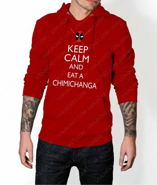 Mens Keep Calm And Eat Chimichanga Red Hoodie