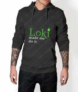 Mens Loki Made Me Do It Grey Hoodie