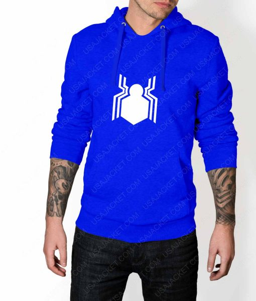 Mens Spiderman Homecoming Suit Logo Blue Hoodie
