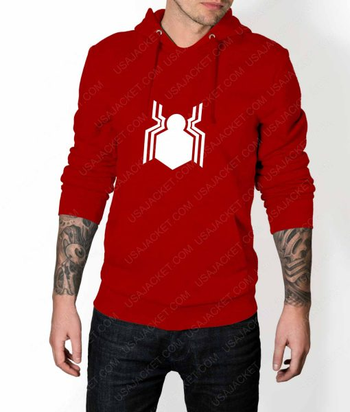 Mens Spiderman Homecoming Suit Logo Red Hoodie
