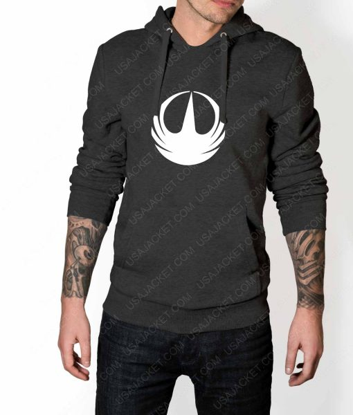 Mens Star Wars Rebellion Logo Grey Hoodie