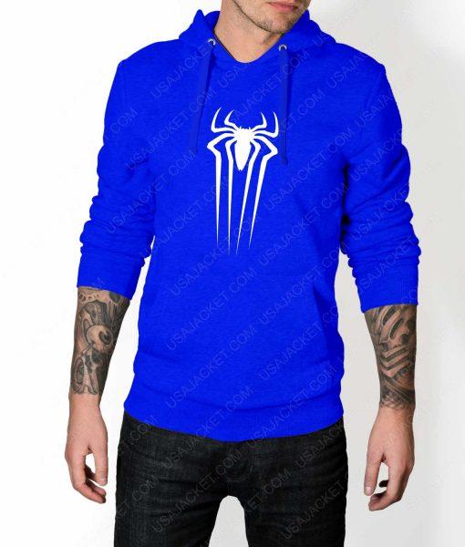Mens The Amazing Spiderman Suit Logo Blue Hoodie