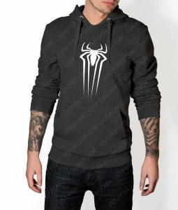Mens The Amazing Spiderman Suit Logo Grey Hoodie