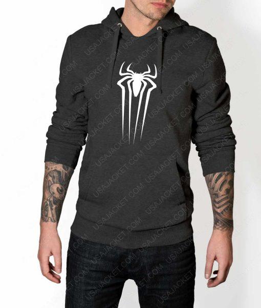 Mens The Amazing Spiderman Suit Logo Grey Hoodie