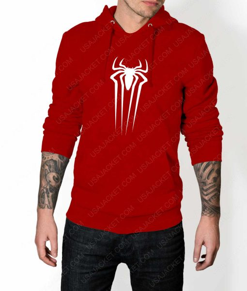 Mens The Amazing Spiderman Suit Logo Red Hoodie