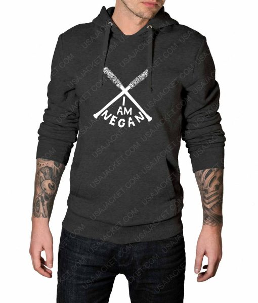 Mens The Walking Dead I Am Negan Logo Grey Hoodie