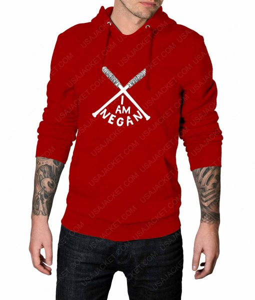 Mens The Walking Dead I Am Negan Logo Red Hoodie