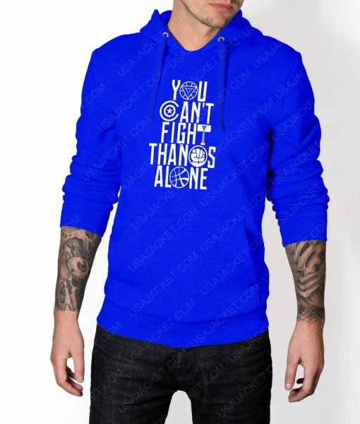 Mens You Can't Fight Thanos Alone Blue Hoodie