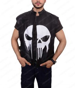 Punisher War Zone Ray Stevenson Black Leather Vest