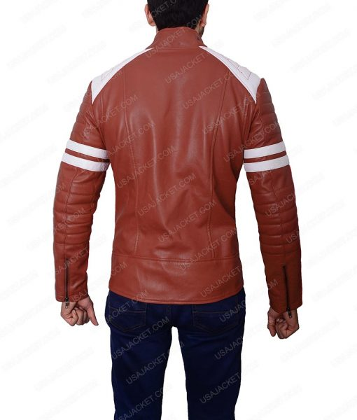 Mens Slim fit Café Racer Brad Pitt Mayhem Retro Red Leather Jacket