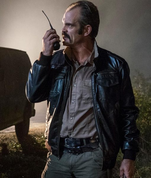 Simon The Walking Dead Steven Ogg Black Flight Leather Jacket
