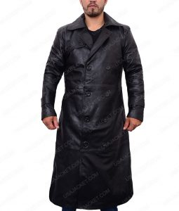Colin Farrell Total Recall Douglas Quaid Black Leather Trench Coat