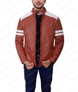 Slim fit Café Racer Brad Pitt Mayhem Retro Red Leather Jacket