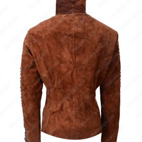 Brown Suede Biker Leather Jacket For Womens