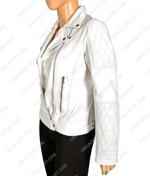 Women White Faux Motorcycle Jacket