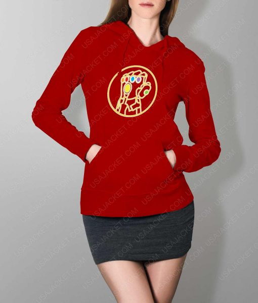 Womens Avengers Infinity War Gauntlet Red Hoodie