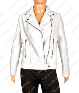 Women White Faux Motorcycle Leather Jacket