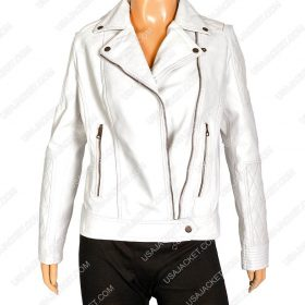 Women White Faux Motorcycle Leather Jacket
