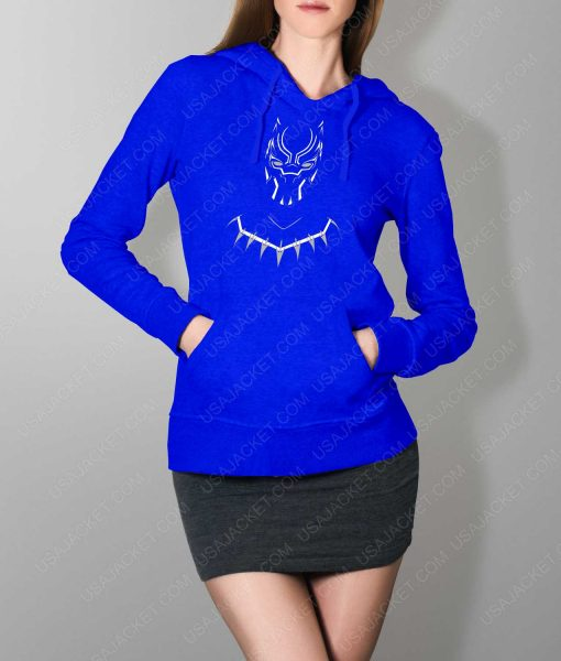 Womens Black Panther Mask Logo Blue Hoodie