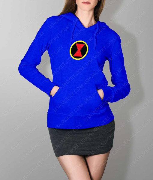 Womens Black Widow Emblem Blue Hoodie