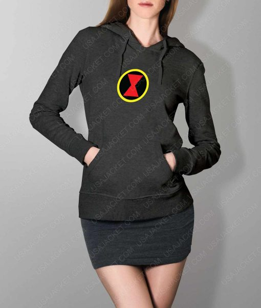 Womens Black Widow Emblem Grey Hoodie