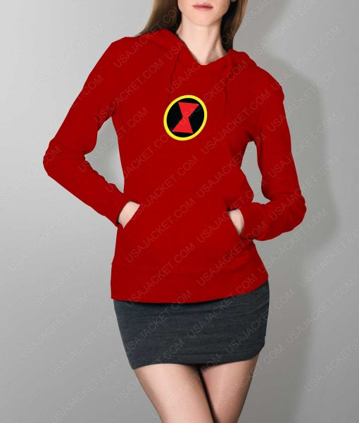 Womens Black Widow Emblem Red Hoodie
