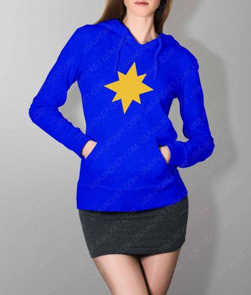 Womens Captain Marvel Star Logo Blue Hoodie