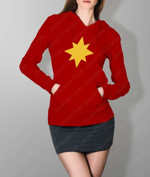 Womens Captain Marvel Star Logo Red Hoodie