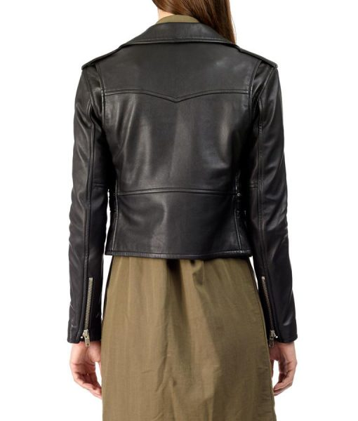 Womens Black Leather Biker Jacke