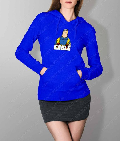 Womens DP2 Cable Blue Hoodie